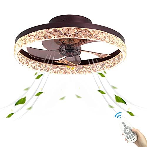 Inspire Marrón Plafon LED Ventilador de Techo Casa con Luz Luces Creativo Modernos Ultra Silencioso Temporizador Mando a Distancia Invisible Decoración lluminación Salon Sala de Estar Dormitorio