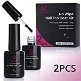 Makartt 2Pcs Top Coat Nail Polish Kit No Wipe Top Gel Fast Curing Soak Off Top Gel 21 Days High-Gloss Wear P-07