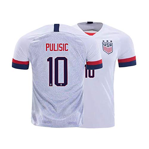 Mens Pulisic Jersey 10 Adult Sports Soccer 2019/2020 National Team Shirt Athletics (Large) White
