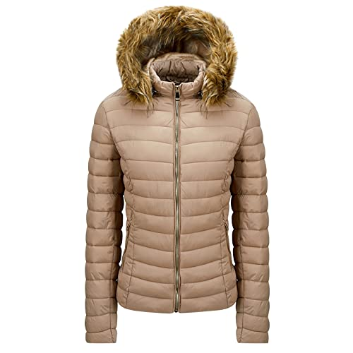 Daunenjacke Damen Winter Steppjacke Jacke mit abnehmbaren Fellkragen Kunstpelz Langarm Winterjacke Warm Slim Fit Jacke Bequem und Leicht Steppmantel Winddicht Mantel