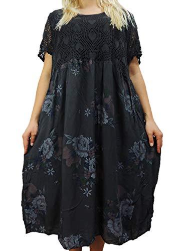 Nowingline Schöne Farben zur Auswahl Damen Kleider Größe 46 48 50 52 54 mit tollem Blumenmuster (Dunkelgrau)