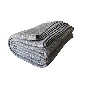 Woolly Mammoth Woolen Co | Extra Large Merino Wool Camp Blanket | Perfect Outdoor Gear | Bedroll for Bushcraft Camping Trekking Hiking Survival or Throw Blanket at The Cabin  Gray