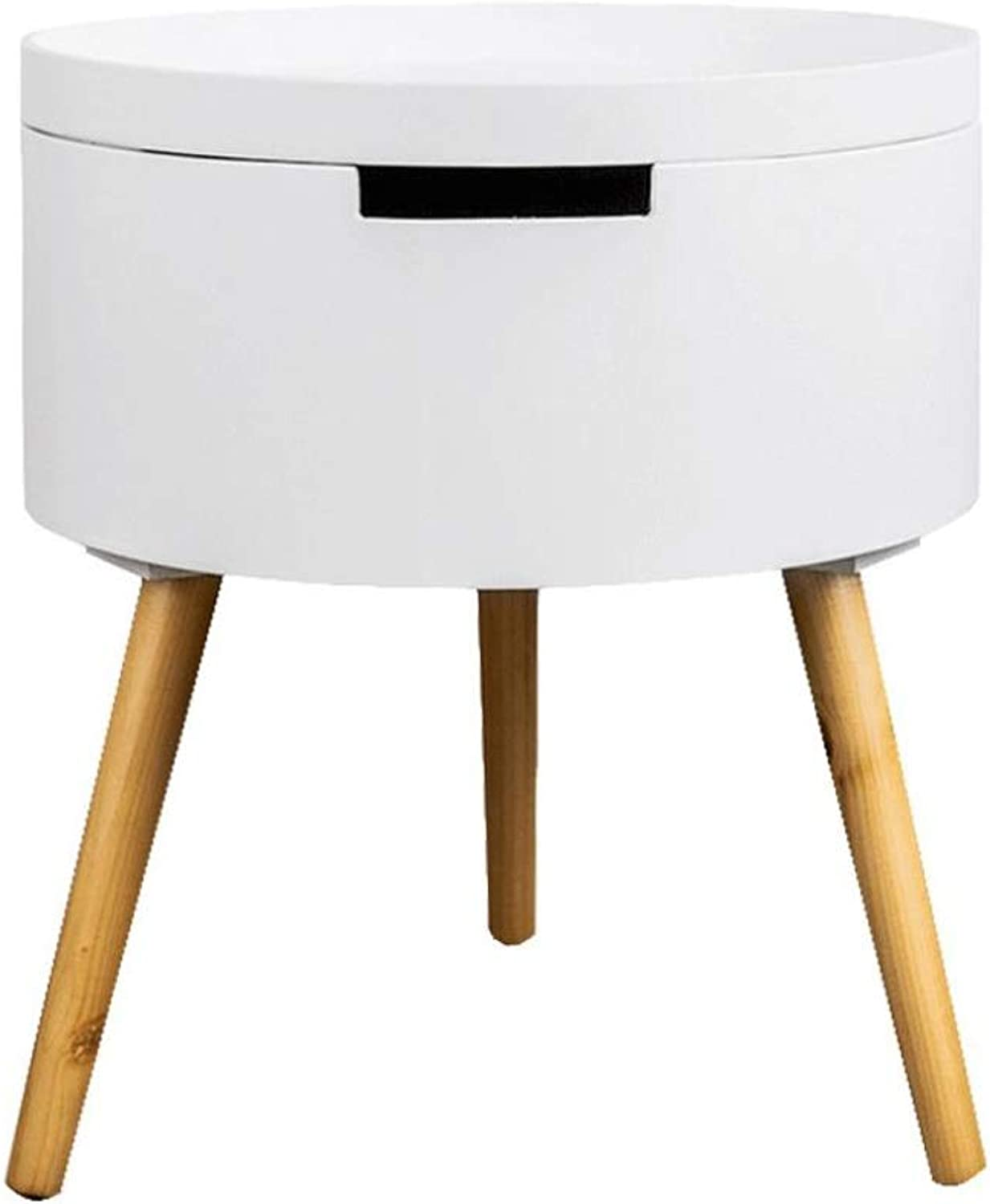 End Table, Sofa Side End Table Bedside Table Nightstand Small Table with Drawer,Wood Legs,38 X 38 X 43 cm (color   White)