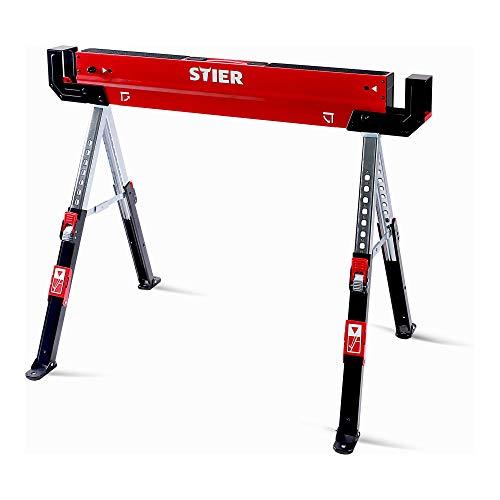 STIER Falt-Arbeitsbock Sägebock höhenverstellbar 590 kg, Klappbock, Arbeits-Unterstellbock, Sägebock, Metallbock, Tischbock klappbar