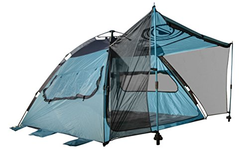 WildHorn Outfitters Quick-Up Cabana Style XL Beach Tent– 2 in 1 Sun Canopy and Summer Shelter– Perfect for Family Outings, Camping Trips, Or Lakeside Activities (Sea Blue/Charcoal)
