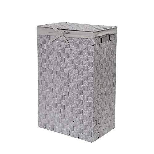 Compactor Tex Cesto Portabiancheria Quadrato Con Coperchio, Grigio, Tessuto Con Struttura In Metallo, Fodera In Lino Rimovibile, 38 x 25 x 60H cm, RAN6894