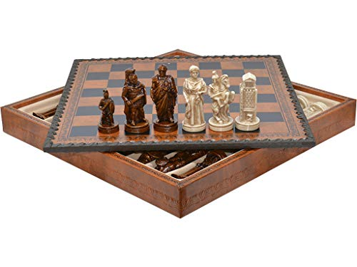 Vidal Regalos Schachspiel Mittelalter + Backgammon Leder 28 cm