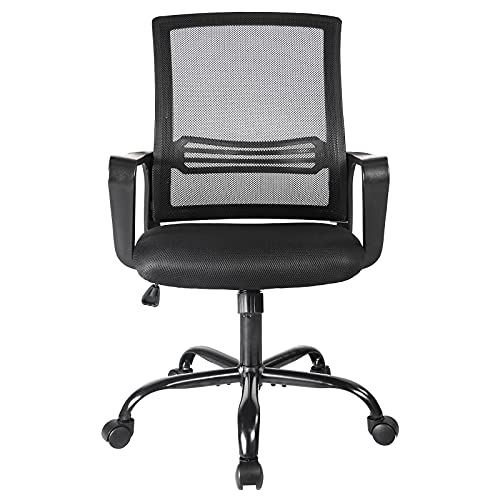 Office Chair, Mesh Desk Chair, Mid Back Home Office Chair, Computer Swivel Rolling Task Chair Ergonomic Executive Chair with Armrests and Lumbar Support