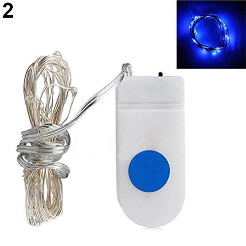 Danigrefinb Dekorative Lampe, 1,8 m, 20 LEDs, batteriebetrieben, Party- und Festival-Dekoration, Mini-Lichterkette, blau, Einheitsgröße