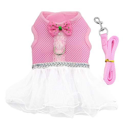 M2cbridge Soft Air Mesh Ruffled Small Animals Harness Dog Cat Vest Tutu Skirt Leash Set for Pets
