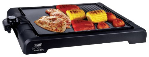 Wahl James Martin Grill with Flat Hot Plate, Health Ridged Grill, Easy Clean, Non Stick, Party Table Top Cooking, Plate size 37 cm x 29 cm, 1500 W, 2.94 Kg