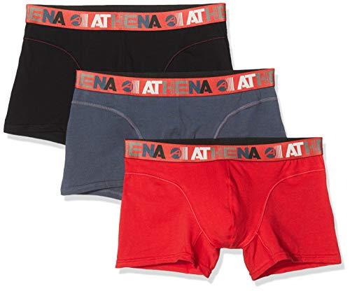 Athéna ENDURANCE 24H LN49 lot de 3 Sous-vêtement Homme, Rouge/Poivre/Noir, Large