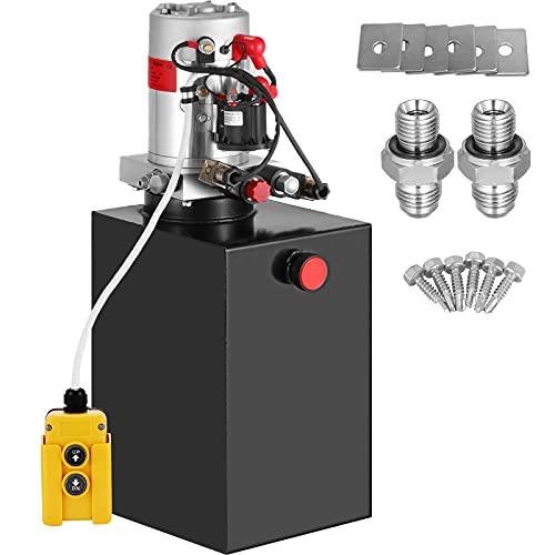 VEVOR 15L Hydraulikpumpe, 2850R / MIN Hydraulikaggregat Doppeltwirkende, Kipperpumpe, Hydraulikaggregat, elektrische hydraulikpumpe mit Tank aus Metall 4,5M Kabelfernbedienung