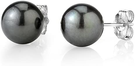 THE PEARL SOURCE 14K Gold AAAA Quality Round Tahitian South Sea Cultured Pearl Stud Earrings product image