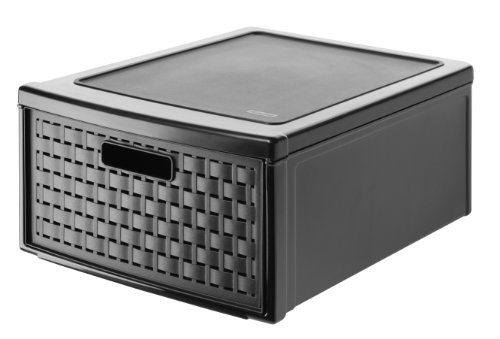 Rotho Country Schubladenbox 19.2 l in Rattan-Optik, Kunststoff (PP), schwarz, 19.2 Liter (45 x 34 x 20 cm)