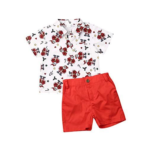 2Pcs Christmas Outfit Toddler Kids Baby Boy Santa Short Sleeve Tops Shirt Shorts Pants Clothes Set (White & Red, 4-5 T)