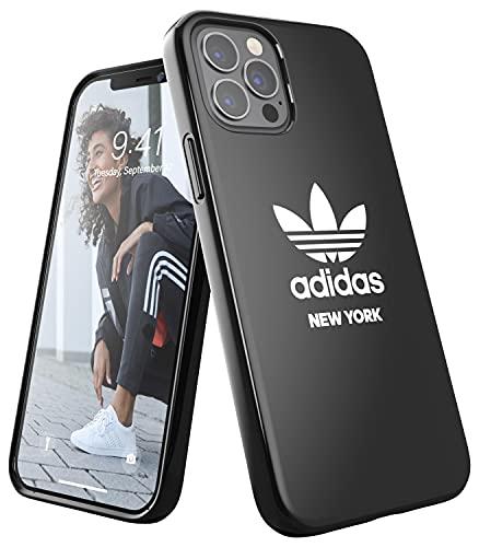 adidas Custodia progettata per iPhone 12, iPhone 12 Pro, 6,1 pollici, custodia testata, bordi rialzati antiurto. Originale New York Snap Case, colore nero e bianco con logo