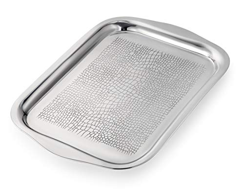 Elegant Serving Tray, Whiskey Tray Ideal For Bathroom Tray, Perfume Tray , Bar Tray, Coffee Table Tray and Vanity Tray - Stainless Steel Tray