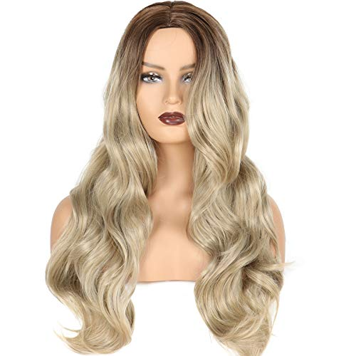 Long Wavy Full Wigs Ombre Black to Platinum Blonde Mix Two Tone Dyeing Color Synthetic Hair Wig for Women (SX06 8801)