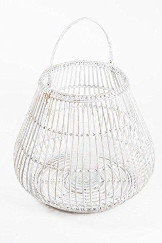 Lanterne Maya rotin blanc