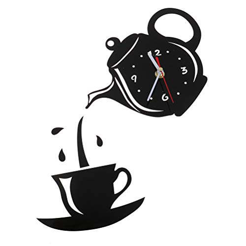1 Pcs DIY 3D Wall Clock Acrylic Coffee Cup Teapot Shape Removable Wall ClocksDecoration for Kitchen Living Room Dining Room Home Decor,Black