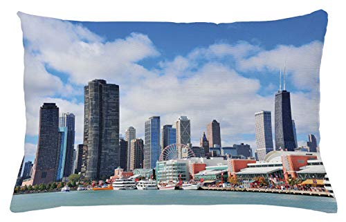 Ambesonne Chicago Skyline Throw Pillow Cushion Cover, Cloudy Sky on City Contemporary Downtown States Country Office Panorama, Decorative Rectangle Accent Pillow Case, 26' X 16', Multicolor