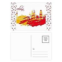 市のシルエットの赤黄色のバルセロナ クリスマスの花葉書を20枚祝福する