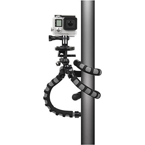 Bower Xtreme Action Series Flex Tripod with Ball Head for GoPro HD HERO, HERO2, HERO3, HERO3+, HERO4, HERO, HERO+ LCD and HERO Session Cameras, Black/Grey