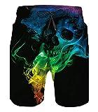 Belovecol Men's Swim Trunks 3D Print Smoke Skull Bathing Suits...