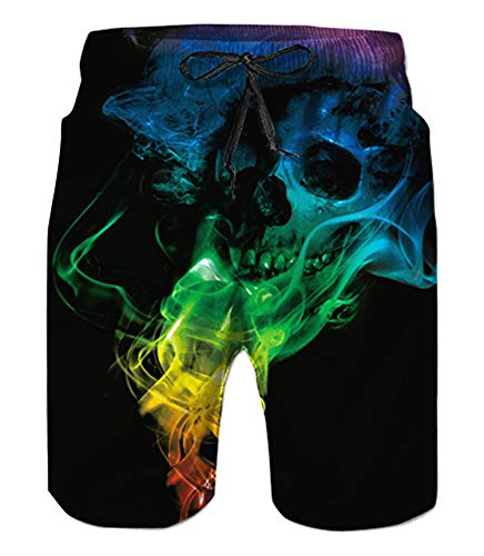 Belovecol Men's Swimsuits Smoke Skull Swim Trunks Cool Quick Dry Board Shorts Graphic Black XL