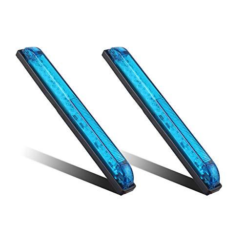 "Partsam 2pcs Blue - 18LED 8"" Utility Strip Light Bar Auto Marker Light 12V Low Current Draw, 8 Inch Blue Led Strip Bar, Slim Line RV Boat Marine Led Utility Lights Surface Mount"