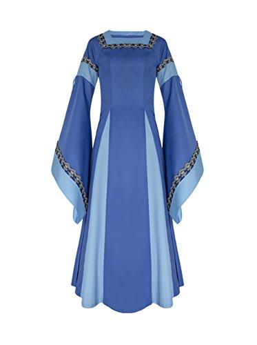 Nobility Baby Women's Renaissance Medieval Royal Vintage Long Sleeved Costume Dress (XXL, Blue)