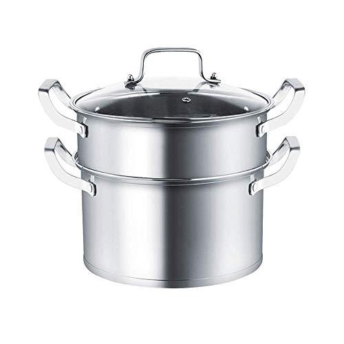 Multifuncional vapor de 2 capas de acero inoxidable cocina del vapor del crisol de la sopa del pote de múltiples capas Caldera Cocina Hogar vapor Conjunto (Color: Plata (30 cm), Tamaño: de una sola ca