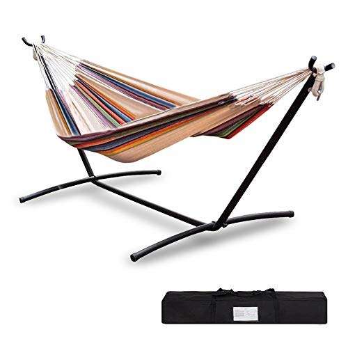 Sibosen Double Hammock Portable w/Heavy Duty Steel Stand, 2-Person Brazilian-Style Cotton Outdoor...