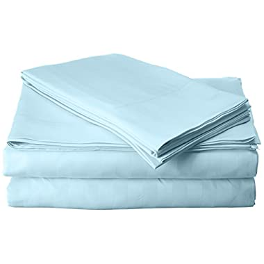 Elegant Comfort Best, Softest, Coziest 6-Piece Sheet Sets! - 1500 Thread Count Egyptian Quality Luxurious Wrinkle Resistant 6-Piece DAMASK STRIPE Bed Sheet Set, Full Aqua Blue