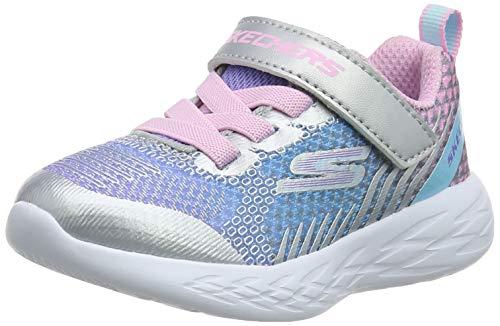 Skechers Girls' GO Run 600 Trainers, Silver (Silver & Multi Mesh/Trim Smlt), 4 (21 EU)