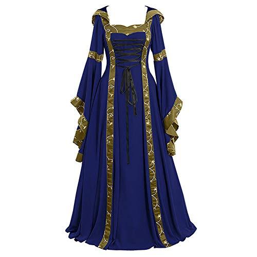 Lover-Beauty Vestido De Traje Cuello Cuadrado Medieval Renacentista para Mujer Largo Vendaje Estilo Victoriano Gotico Falda De Palacio Manga Larga Azul 5XL
