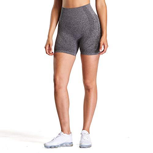 Aoxjox Women's High Waisted Vital Seamless Workout Yoga Gym Shorts (Vital Charcoal Grey Marl, Small)