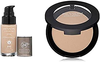 Revlon ColorStay Face Collection for Combination/Oily Skin - Liquid Foundation & Pressed Powder, Nude & Light Medium