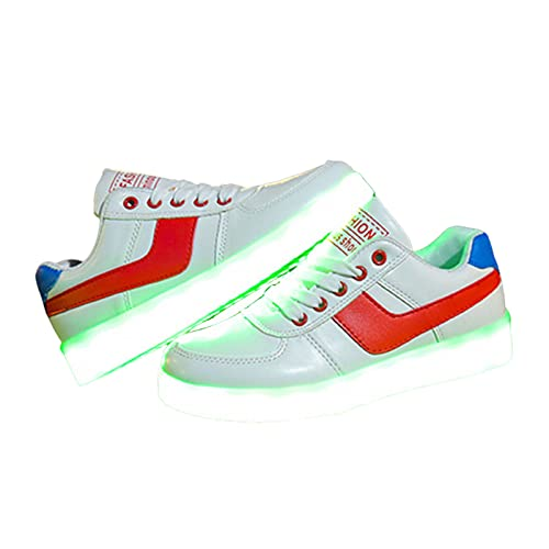 HAOLIN Gymnastik Unisex Atmungsaktive Laufschuhe Sport Turnschuhe LED-Licht Schuhe mit USB-Ladung Beste Familie Verwandter Geburtstag,Red-43 EU