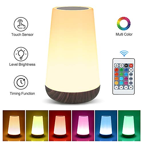 Table Lamp Touch Night Light - Portable Sensor Remote Control Bedside Lamps with Quick Rechargeable USB Dimmable Warm White Light 13 Colors RGB Table Lamp for Bedroom Living Room Office (Black Wood)