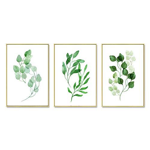 ZFFLYH Wandbilder, Set Von 3 Botanische Drucken, Nordic Wohnzimmer-Dekoration Gemälde Moderne Minimalist Gemälde Sofa Hintergrund Wandmalerei (30 * 40CM),B,Athens White