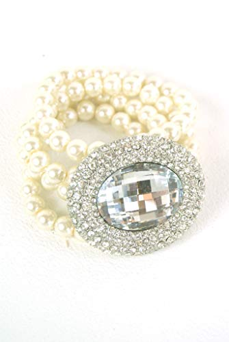 Jewellery - Ladies Bracelet - Pearl and Diamante Cuff Bracelet With Oval Brooch and Faceted Central Gem