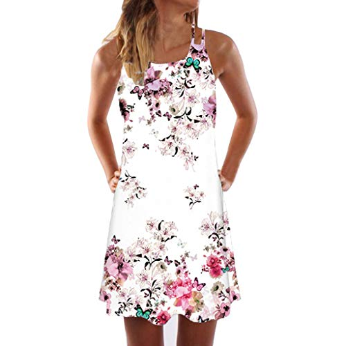 TWIFER Damen Vintage Boho Sommerkleid Sommer Ärmellose Strand Gedruckt Kurzen Minikleid