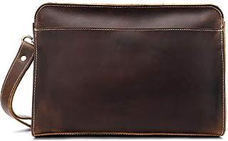 حقيبة يد أنيقة للرجال من الجلد بتصميم كلاسيكي مجنون حصان أنيق حقيبة يد جلدية من الدرجة الأولى محفظة جلدية محفظة (اللون: ال...