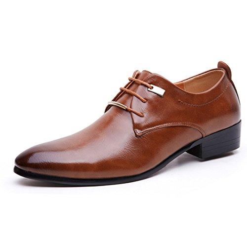 Sapato social masculino bico fino sapato formal de couro sem salto Oxford sapato sem cadarço, Marrom, 11