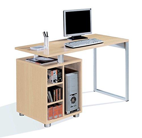 Abitti Escritorio Mesa de Ordenador Multimedia Color Haya, Pata metálica, cajonera 4 Huecos y Tapa Gruesa 22MM para Oficina, despacho o Estudio. 120cm Ancho x 60cm Fondo x 75cm Altura