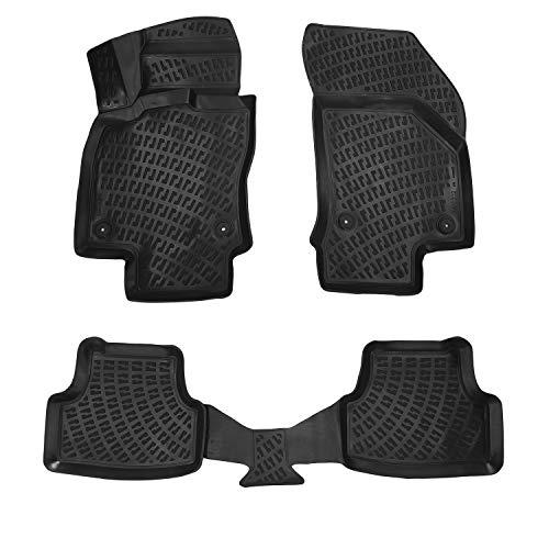 RE&AR Tuning Alfombrillas de coche para Seat Leon 2013-2021, alfombrillas de goma inodoras, color negro, protección contra la suciedad y el barro, impermeables, específicas para vehículos