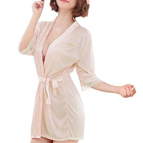 Sidiou Group Vestido Pijama Mujer Kimono Corto Bata de Satén Lencería Kimono del Cordón Satén Seda de Hielo Bata Albornoz Camisón (M, Estilo 1-Champán)