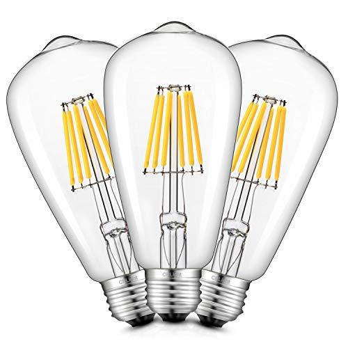 CRLight 6W LED Edison Bulb 3200K Soft White 70W Equivalent 700 Lumens Dimmable, E26 Medium Base Vintage Edison Style ST64 Clear Glass LED Filament Light Bulbs, Pack of 3
